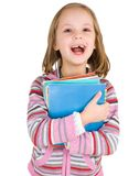 Child with a stack of notebooks Royalty Free Stock Photo