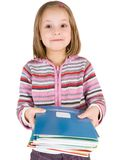 Child with a stack of notebooks Stock Photos