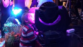 Child and stage projector stock video
