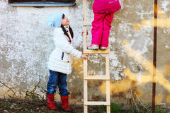 The child on stairs. Stock Image