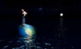 Child standing on earth in ocean. Earth as our only home, floating in an ocean under the milky way royalty free illustration