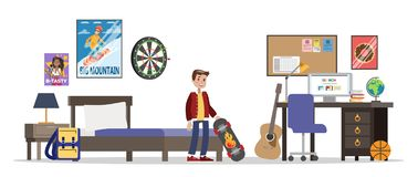 Child standing in his room with skateboard. stock illustration