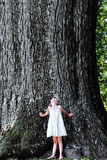 Child Standing Under a Large Tree Royalty Free Stock Photography