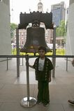 Child stands in front of Liberty Bell, Royalty Free Stock Photo