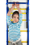 A child stands next to the a horizontal bar Stock Images