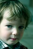 Child stares closely. Very attentive sight of the taken offence boy Stock Photos