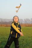 Child starting plane model Stock Image