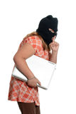Child Stealing Laptop Royalty Free Stock Images