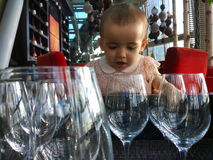 Child with stemware Stock Photos