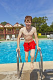Child steps out of the pool Royalty Free Stock Images