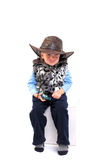 Child in stetson hat. Sad child boy in stetson hat on the white Stock Photos