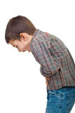 Child stomach ache. Child standing in profile  having a severe stomach ache and screaming isolated on white background,same series in Sick people Royalty Free Stock Images
