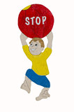 Children Stop Sign Boy Ball Stock Photography