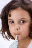Child with straw. Latin kid in white background royalty free stock photo