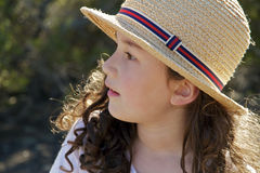 Child Straw Hat. Portrait of Cute Girl in Straw Hat Royalty Free Stock Photography