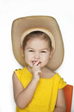 Child in a straw hat Stock Photo