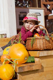 Child in a straw hat Royalty Free Stock Photos