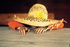 Child in a straw hat stock photography