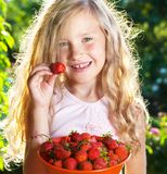 Child with strawberry royalty free stock photo