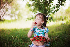 Child and strawberry. Stock Photos