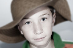 child with straws hat Royalty Free Stock Photo