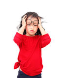 Child stress. And headache isolated white background Stock Photography