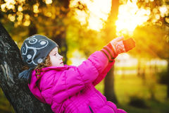 Child stretching his arms to the sun. Royalty Free Stock Photo