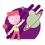 Child student engaged in astronomy. On the background of the sky and the planets vector illustration