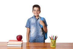 Child student. In school on white background Stock Images