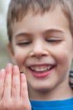 Child studies the ladybug Stock Images