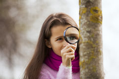 Child studing biology Stock Images