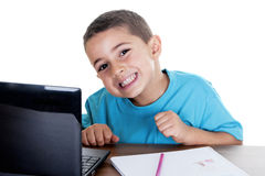 Child studying with computer Stock Image