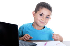 Child studying with computer. On white background Stock Images