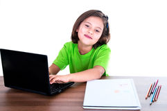 Child studying with computer Stock Photography