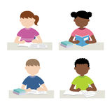 Child studying and doing homework. Vector illustration of child studying and doing homework Royalty Free Illustration
