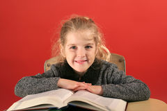 Child studying head up Stock Image