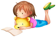 A child studying. Illustration of a child studying on a white background Stock Photos