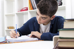 Child studying and writing. On the desktop stock photography