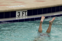 Child submerged in the swiming pool Stock Image