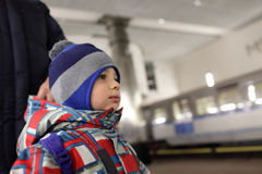 Child on subway platform Royalty Free Stock Photo