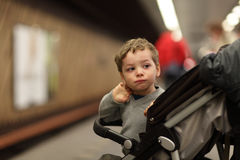 Child at subway station Royalty Free Stock Images