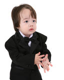 Child in suit and bow tie stock photo