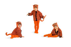 The child in a suit of a tiger. On a white background stock images