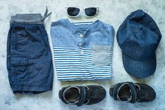 Free Child Summer Clothes - Polo, Shorts And Cap Top View. Stock Photo - 117752210