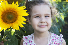 Child in sunflowers. Happy Child on the field with sunflowers stock photography