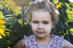 Child in sunflowers Royalty Free Stock Photography