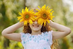 Child with sunflowers in his hand show white teeth; enjoying nature in summer sunny day royalty free stock photography