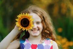 Little girl show white teeth Royalty Free Stock Photo