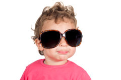 Child with sunglasses. Positive little child with retro sunglasses isolated on white background Royalty Free Stock Images