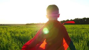 A child in a superhero costume in a red cloak runs across the green lawn against the backdrop of the sunset. The boy. Shows the flight of the aircraft at a slow stock video footage